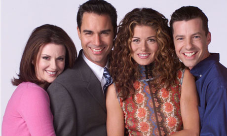 The cast of Will & Grace. Guess which of the male characters is gay. Trick question; they're both gay.