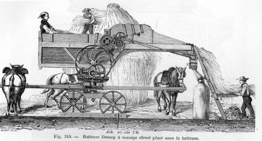 Mechanically Threshing Wheat, circa 1881.